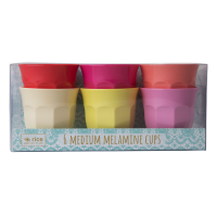 Set of 6 Bright Sunny Colours Melamine Cups By Rice DK