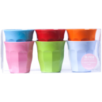 Set of 6 Bright Coloured Melamine Cups By Rice DK