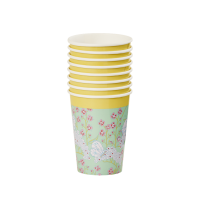 Butterfly & Flower Print Set of 8 Paper Cups By Rice DK