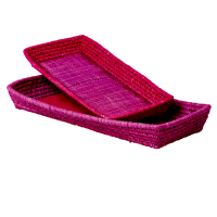 Set of 2 Raffia Bread Baskets Fuchsia & Purple by Rice DK