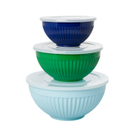 Melamine Stacking Storage Bowls Set of 3 Blues & Green By Rice DK