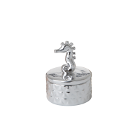 Silver Porcelain Trinket Box With Seahorse by Rice DK