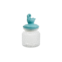Glass Jar with Air Tight Dusty Green Swan Lid Rice DK