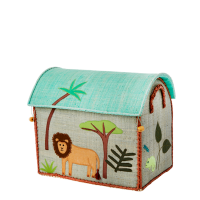 Jungle Animal Theme Small Raffia Toy Basket Rice DK