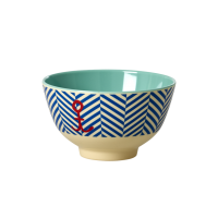 Blue Sailor Stripe & Anchor Print Small Melamine Bowl Rice DK