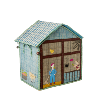 Small Blue Farm Theme Raffia Toy Storage Basket Rice DK