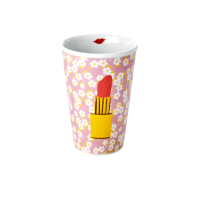 Porcelain Tall Cup with Small Flower & Lipstick Print By Rice DK