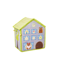Small Jungle House Raffia Toy Storage Baskets Rice DK