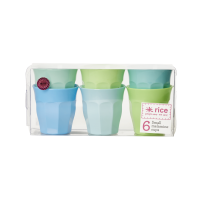 Set of 6 Blue & Green Small Kids Melamine Cups By Rice DK