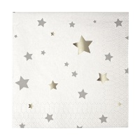 Silver Star Small Paper Napkins By Meri Meri