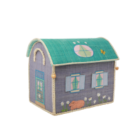 Small Colourful House Raffia Toy Storage Basket Rice DK