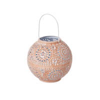 Small Round Metal Lantern in Coral By Rice DK