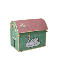 Small Ugly Duckling Story Themed Raffia Toy Storage Basket Rice DK