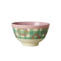 Small Green Check Vichy Print Melamine Bowl Rice DK