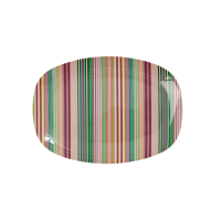 Striped Small Rectangular Melamine Plate Rice DK