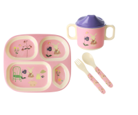Pink Rabbit Print 4 Piece Melamine Dinner Set in Gift Box By Rice