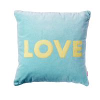 Square Dark Mint Velvet Cushion ''LOVE'' By Rice DK