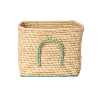 Natural Raffia Square Basket With Gold Thread & Pastel Green Edges Rice