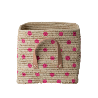 Natural Raffia Square Basket Hand Painted Fuchsia Spots Rice DK