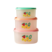 Set of 3 Square Food Boxes With Tutti Frutti Print By Rice DK