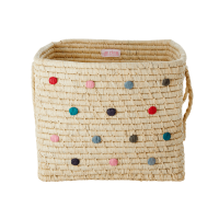 Embroidered Dots Square Raffia Basket Raffia Handles Rice DK
