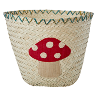 Raffia Storage Basket Embroidered Toadstool Rice DK