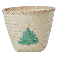 Raffia Storage Basket Embroidered Tree Rice DK