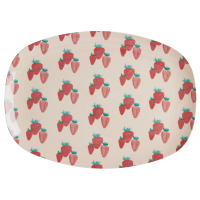 Strawberry Print Rectangular Melamine Plate By Rice DK