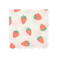 Strawberry Print Small Paper Cocktail Napkins By Meri Meri