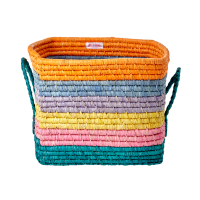 Bright Coloured Stripe Square Raffia Basket With Handles Rice DK