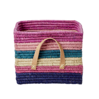 Striped Square Raffia Basket Tan Leather Handles Rice