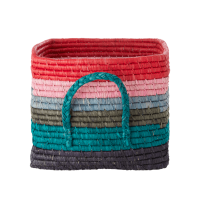 Coloured Stripe Square Raffia Basket With Handles Rice DK