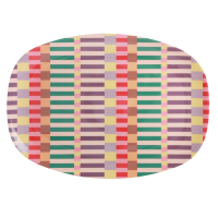 Summer Stripe Print Rectangular Melamine Plate Rice DK