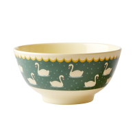 Swan Print Melamine Bowl In Green By Rice DK