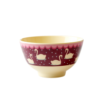 Swan Print Small Melamine Bowl In Bordeaux By Rice DK