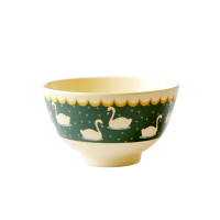 Swan Print Small Melamine Bowl In Green By Rice DK