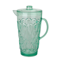 Large Pastel Green Swirly Embossed Acrylic Jug With Lid Rice