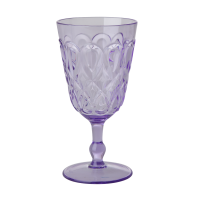 Lavender Coloured Swirl Embossed Acrylic Wine Glass Rice DK