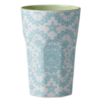 Rice DK Mint Lace Print Tall Melamine Latte Cup