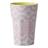 Rice DK Pink Lace Tall Melamine Latte Cup