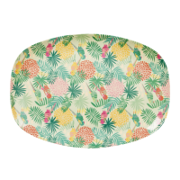 Colourful Tropical Print Rectangular Melamine Plate Rice DK