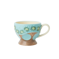Ceramic Mug with Embossed Turquoise Flower Design Rice DK