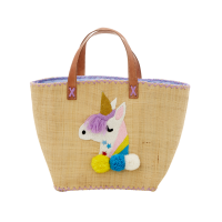 Raffia Shopping Bag with Unicorn Embroidery By Rice DK