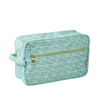 Rice DK Wash Bag in green with a pretty blue flower print