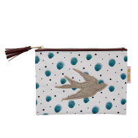 Water Colour Splash Print Zipped Pouch By Rice DK