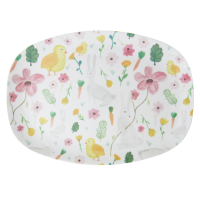 White Easter Print Rectangular Melamine Plate By Rice DK