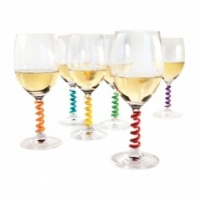 Colourful Silicone Spring Wine Glass Stem Charms