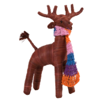 Christmas Raffia Reindeer with Crochet Scarf by Rice DK