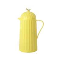 Yellow Thermo Flask With Gold Bird on Lid Rice DK