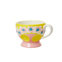 Ceramic Mug with Embossed Yellow Flower Design Rice DK